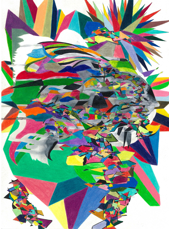 111 Title; Untitiled  size 24,5cm x 33,5cm pen , pencil , acrylic paint, paper