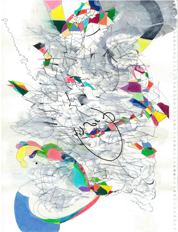 15 Title; Untitiled size 24,5cm x 33,5cm pen , pencil , acrylic paint, paper