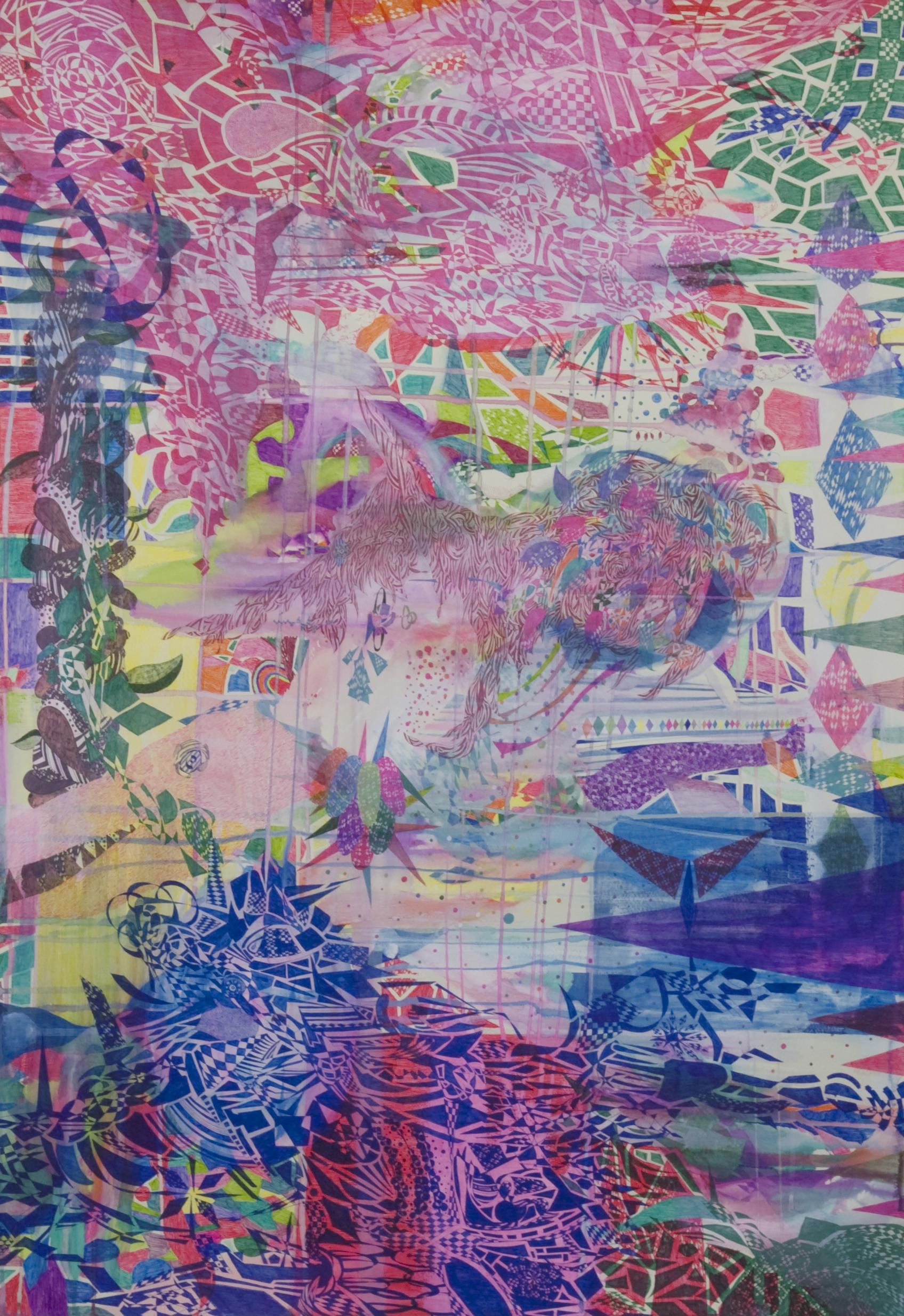 Folk tale:paper , waterbase ink acrylic paint:780mm x550mm