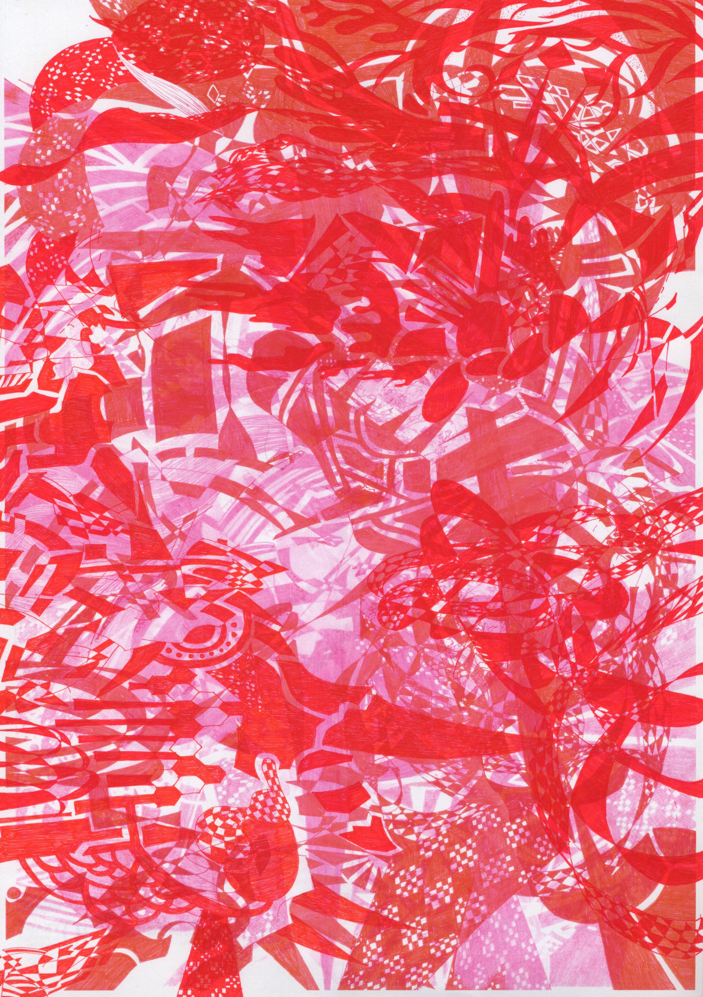 Kimono Slip:paper,waterbase ink,acrylic paint:265mm x 355mm