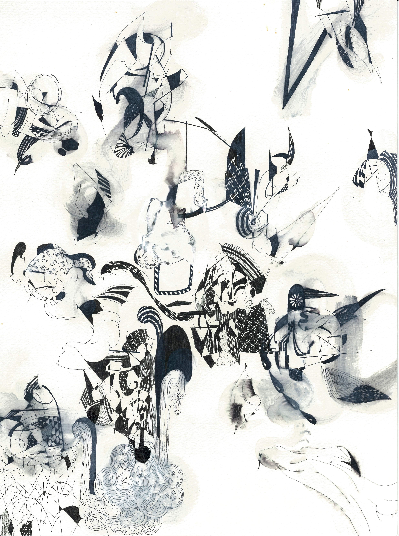 177 Title; Untitiled size 24,5cm x 33,5cm pen ,  paper, acrylic paint1